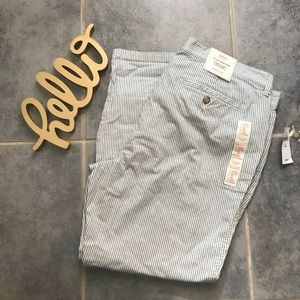 NEW Gap Trousers White Navy Pinstripe 14